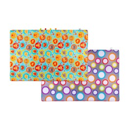 Materac dywan na podłogę dwustronny zwierzątka/kółka 150x150x2 cm